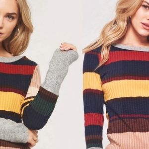 NEW! Striped Color Block Ribbed Knit Sweater